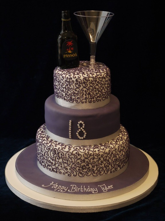 3 Tier Purple And Silver Cake With Detailed Piping Drink Glass Topper